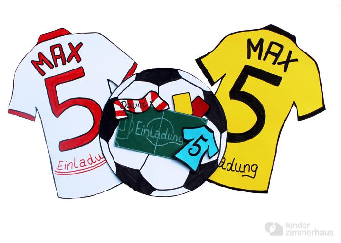 Einladungskarte als Trikot zum Fußball Geburtstag basteln