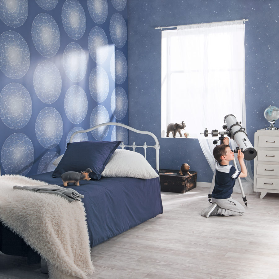 Kinderzimmer Tapeten Und Gardinen : Kinderzimmer Gardinen:Casadeco-Jungenzimmer-Planeten