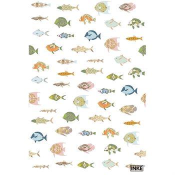 Inke Wandbild Fische Weiß 200 x 300 cm