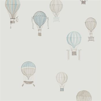 Jules et Julie Kinderstoff Heißluftballon weiss blau grau