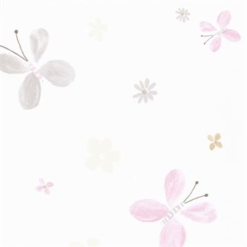 Jules et Julie Tapete Papillons weiß grau rosa