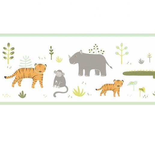 Casadeco Bordüre Happy Dreams Dschungel Tiere grün