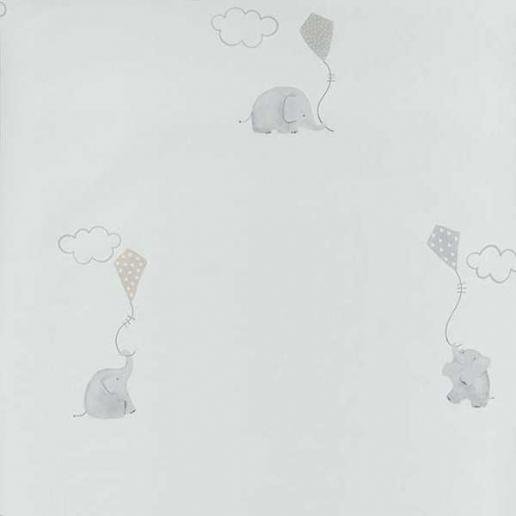 Casadeco My Little World Tapete Elefanten Beige/ Hellgrau