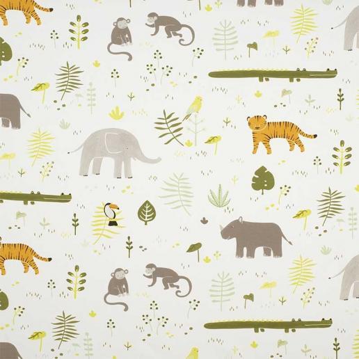 Casadeco Stoff Happy Dreams Dschungel Tiere grün