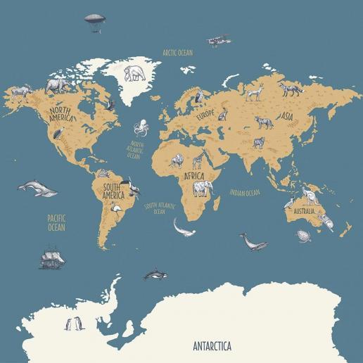 Caselio Wandbild Our Planet Weltkarte Blau