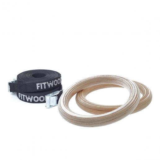 FitWood Kleine Turnringe für Kinder Schwarz - Natur