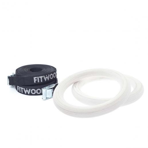 FitWood Kleine Turnringe für Kinder Schwarz - Weiß