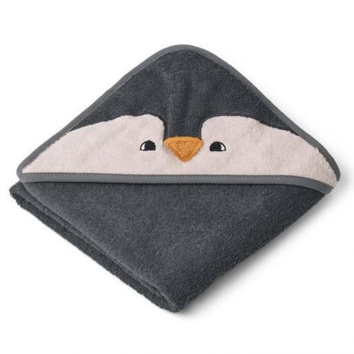 Liewood Kapuzenhandtuch Albert - Penguin stone grey