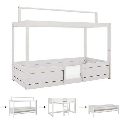 LifeTime 4 in 1 Kinderbett mit Dach weiß   Rolllattenrost