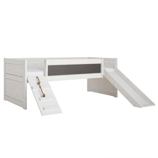 LifeTime Spielbett mit Rutsche und Laufplanke White Wash | Deluxe Lattenrost