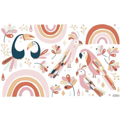 Lilipinso Wandsticker Vögel und Regenbogen rosa