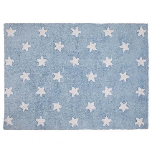Lorena Canals Waschbarer Teppich Sterne Blau-Weiß