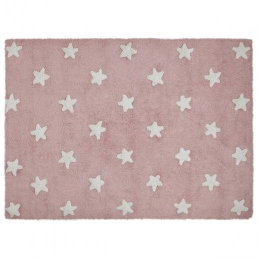 Lorena Canals Waschbarer Teppich Sterne Rosa-Weiß
