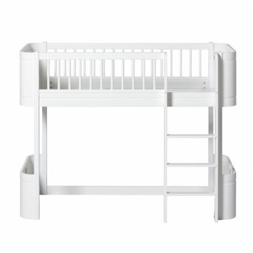 Oliver Furniture halbhohes Hochbett Wood Mini+ Weiß