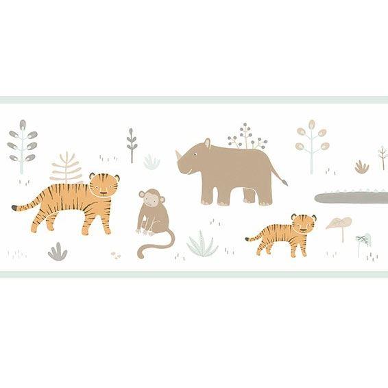 Casadeco Bordüre Happy Dreams Dschungel Tiere beige