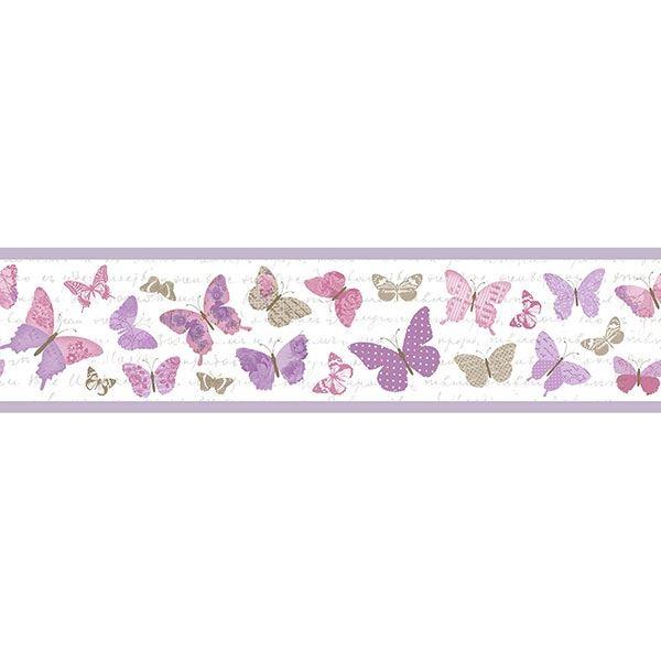 Caselio Bordüre Pretty Lili Schmetterlinge Lila   Baumarkt > Wand und Decke   Casadeco