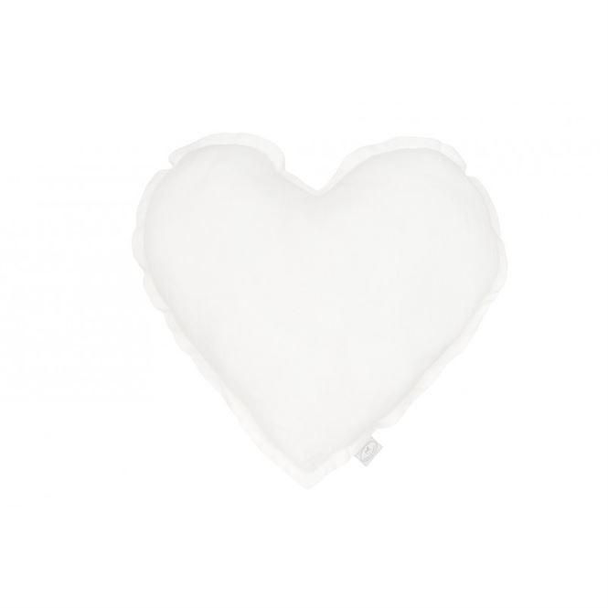 Cotton & Sweets Leinenkissen Herz Weiß