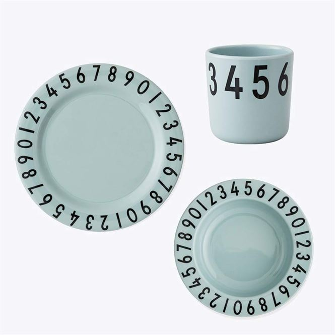 Design Letters Kindergeschirr Set Nummern Soft Green