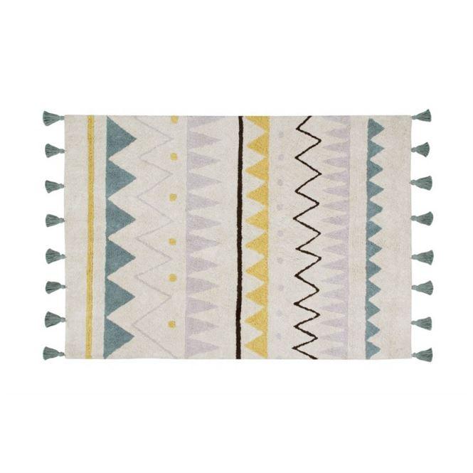 Lorena Canals Waschbarer Teppich Azteca Natural Vintage Blue