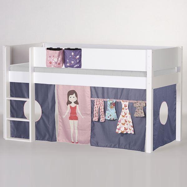 Manis-h Mädchen Hochbett Puppe mit Bettvorhang Weiß