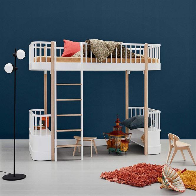 Oliver Furniture Hochbett Wood Weiß/Eiche Leiter vorne