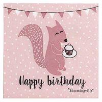 Bloomingville Papier Servietten Eichhörnchen Rosa