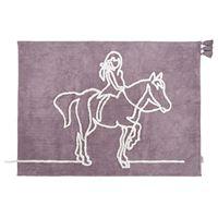minividuals Teppich Lineart Mädchen auf Pferd