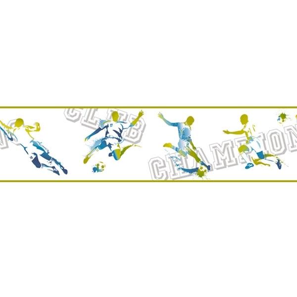 Caselio Only Boys - Bordüre Fußball in gelb und blau