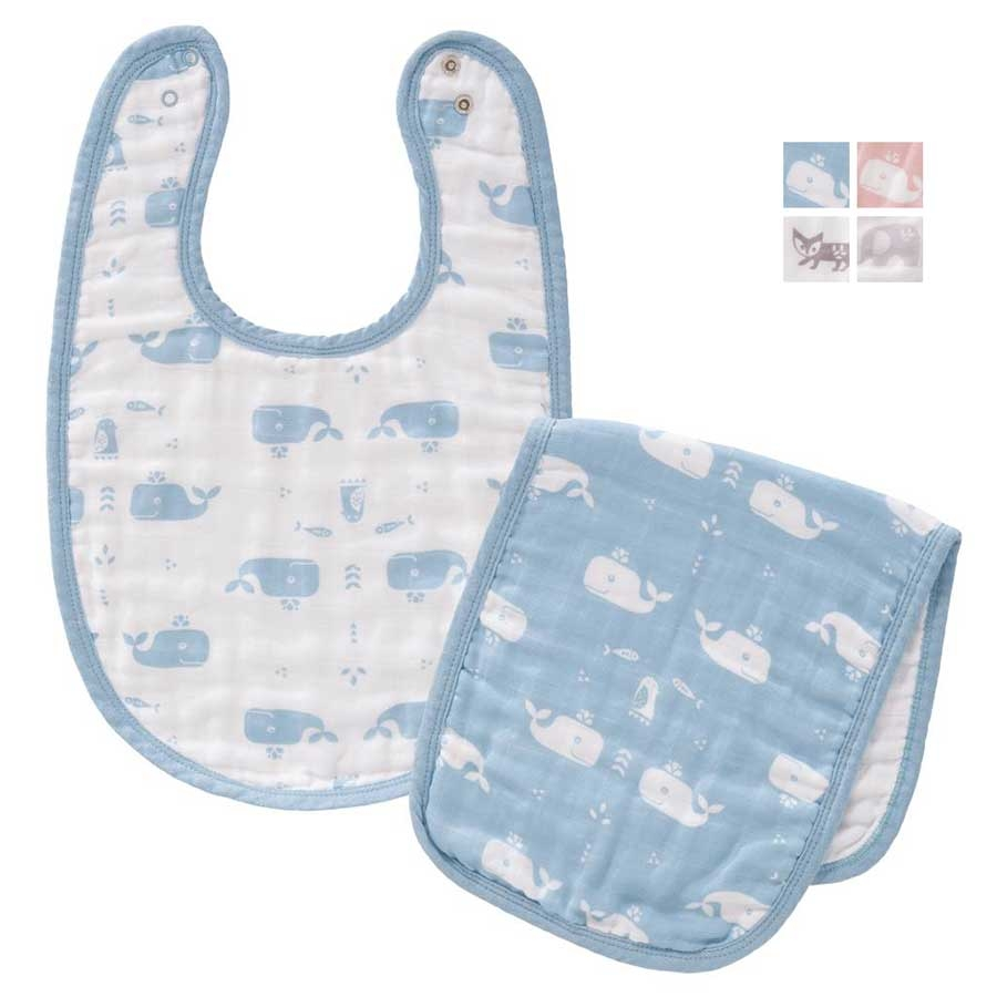 rosa Baby Lätzchen Set   2 Lätzchen plus Spucktuch  Mädchen Jungen 100/%Bw blau