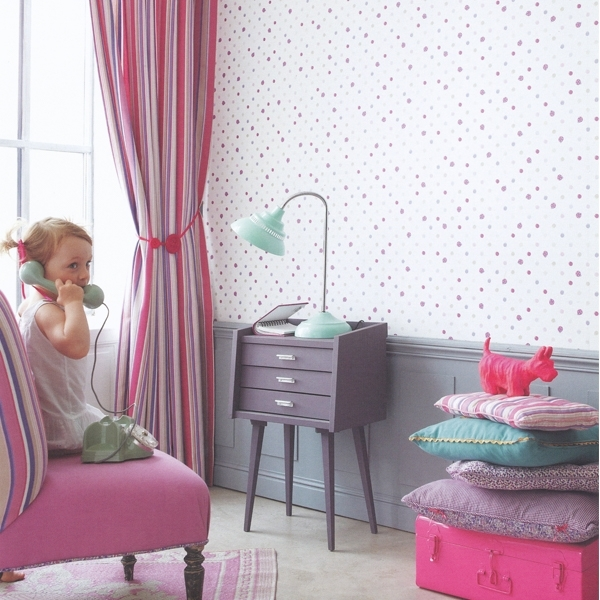 abracadabra kinderzimmertapete pop ladybird wei rosa lila. Black Bedroom Furniture Sets. Home Design Ideas
