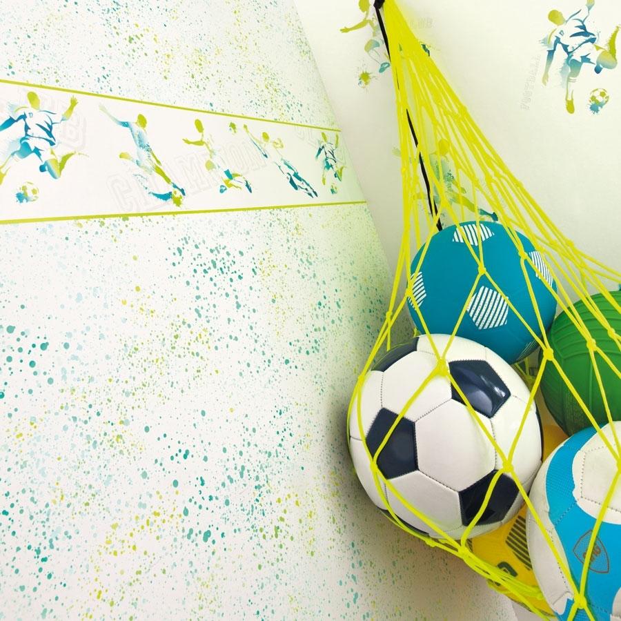 Caselio Only Boys Fußballtapete Gelb Und Blau