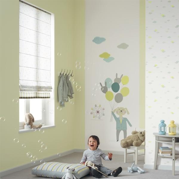 jules et julie tapete nuages wei gr n hellblau. Black Bedroom Furniture Sets. Home Design Ideas
