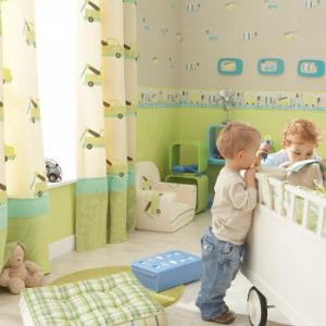 gelbgr n t rkise streifentapete kinderzimmerhaus. Black Bedroom Furniture Sets. Home Design Ideas
