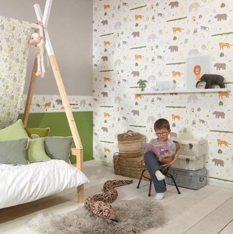 Casadeco tapete happy dreams dschungel kinderzimmerhaus - Dschungel tapete kinderzimmer ...
