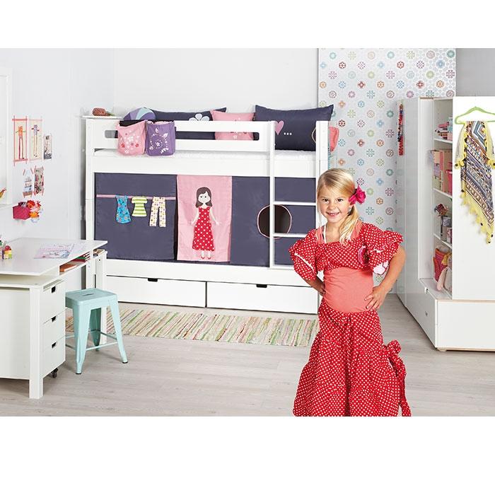 manis h minihochbett wei motiv puppe. Black Bedroom Furniture Sets. Home Design Ideas